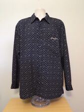 Sean John Dress Shirt L Black Logo Blue Ombre Lines Long Sleeve Cuff Polyester