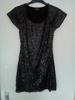 LADIES BLACK MADAM RAGE SEQUINED KNEE LENGTH DRESS SIZE 8 UK NEW WITHOUT TAGS