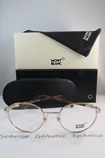 Mont Blanc MB 557 028 Round Gold on Havana New Authentic Eyeglasses 50mm w/Box