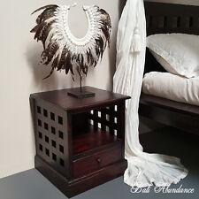 Balinese Hand Carved MIMI Teak Walnut Bedside Cupboard Lamp Side Table Lattice