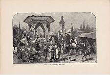 Saracenic Fountain at Jaffa. Rare Antique Print. 1881.
