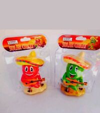 Solar Powered Dancing Toys Green Red Hot Chilli Peppers New In Blister Pack FFS
