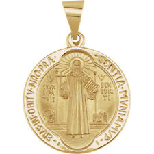 14K Yellow Gold 18.5mm Round Hollow St. Benedict Medal