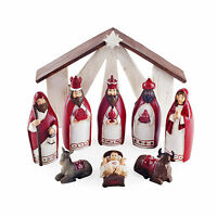 Nativity Nine Piece Red Resin Christmas Scene Ornament Decoration Set