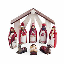 Nativity Nine Piece Red Resin Christmas Scene Ornament Decoration Set