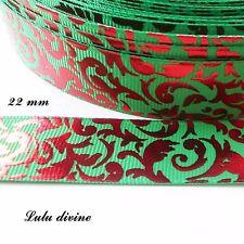 Ruban gros grain vert Arabesque rouge effet brillant de 22 mm au mètre