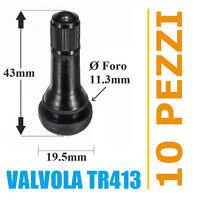 10 Valvole TR413 per pneumatici tubeless auto e moto (Corte) cerchi lega e ferro
