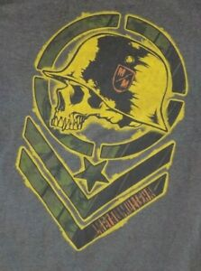 Metal Mulisha XL Grey T Shirt Skull Helmet Army Bars Stripes