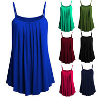 Women Solid Casual Cami Pleated Loose Vest Tunic Tank Top Summer Swing Blouse US