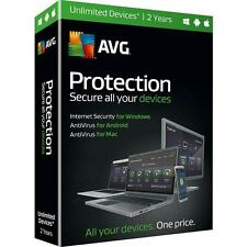AVG PROTECTION 2016 UNLIMITED DEVICES 2 YEARS WINDOWS MAC ANDROID SEALED RETAIL!