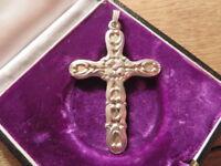 Schöner 835 Silber Anhänger Groß es Kreuz Jugendstil Art Deco Blume Glaube