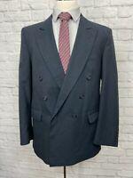 CHRISTOPHER BROOKS (44R) Men's Navy Blue Peak Lapel Blazer Sport Coat