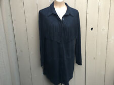 Do+Be Black Faux Suede Long Sleeve Button Fringe Tunic Dress Jacket Women's Sz S