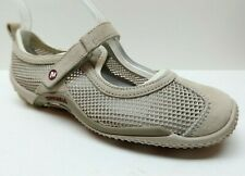 Merrell sz 7 Beige Suede Leather Slip On Loafers Walking Shoes Hook and Loop