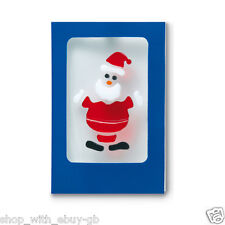 Pack of 12 Christmas Gel Sticker Cards and Envelopes Cute Santa Claus Decor Gift