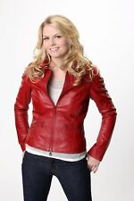 LADIES WOMEN RED SLIM FIT REAL GENUINE LEATHER JACKET EMMA SWAN ONCE UPON A TIME