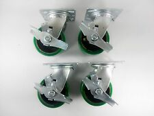 "4"" x 2"" Polyurethane On Cast Iron (Green) - Swivel with brake(4ea)"