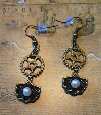 Ohrringe Muscheln Steampunk perle  zahnrad zahnräder altgold127