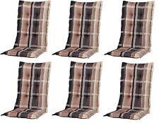 6 x Gartenmöbel Hochlehner Sessel Auflagen Polster Kissen 8 cm Gartenstuhl B252
