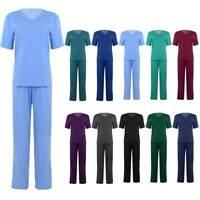 Men Women Medical Doctor Nurse Scrub Lab Set Uniform 2 Piece Suits Work Wear
