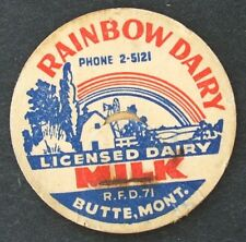 Old RAINBOW DAIRY - BUTTE MONTANA - scarce MIIK BOTTLE Dairy Cap