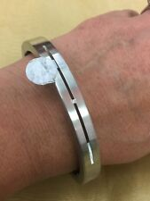 STAINLESS STEEL BANGLE smooth  Tone Diamond Center NEW