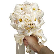 Handmade Pearls Rose Flower Bridal Wedding Bouquet Brooch Crystal Silk Flowers