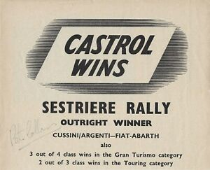 Peter Collins Ferrari racer signed Castrol Oil page from Motor Racing magazine