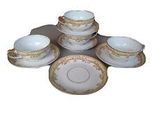 Vintage Limoges France Porcelain Lot of 5 Tea cups & 5 Saucers Gilt & Roses