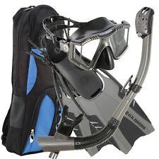 U.S. Divers Lux Platinum Snorkel Set Gunmetal. Adult Go-Pro Ready Snorkel Mas...