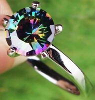 18K W GOLD EP 1.0CT MYSTIC RAINBOW TOPAZ SOLITAIRE RING WOW size 7 -12 u choose
