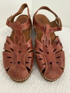 Colorado Cisco Brown Leather Wedge Sling Back Comfort Casual Sandals AU 8 EUR 39