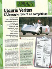Ecurie F1 Veritas Meteor Stromliner RS 6 Cyl. 1951 Germany Car Auto FICHE FRANCE