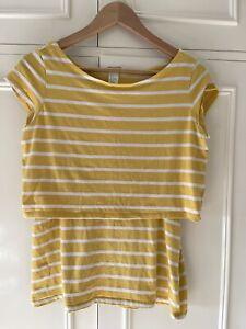 H&M Mama Yellow Striped Maternity & Nursing Top/T-shirt. Size L (UK14-16)