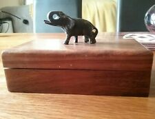 Lovely Wood / Treen Oblong Box With Bronze Elephant