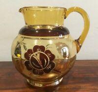 Great Vintage Amber Glass Jug Gold Tone