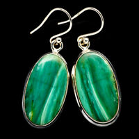 "Chrysocolla 925 Sterling Silver Earrings 1 1/2"" Ana Co Jewelry E394998F"