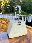 VINTAGE FLORIDA HANDBAGS WHITE OPALESCENT LUCITE CLEAR LIDDED PURSE 1950s