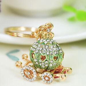 Gold & Green Coach Carriage Royal Princess Crystal Keyring Chain Handbag Charm