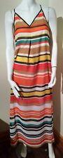 Maxi dress stripes orange multicolor BEIGE BY ECI sexy & light size 4 summer nwt