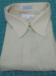 Men's DAMANTE Long Sleeve Button Front Beige Dress Shirt Size 20.5 TALL