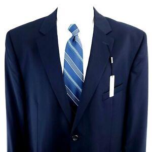 NEW Pronto Uomo 48R 2 Button Wool Navy Blue Blazer