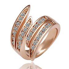 Beliebte Elegante Schmuck Rose Gold Kristall Hochzeit Engagement Band Ring  H2X8