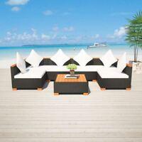vidaXL Garden Dining Set 7 Piece Poly Rattan Wicker WPC Outdoor Seating