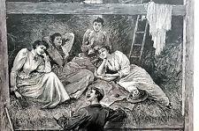 Davis Summer on Farm 1891 VICTORIAN LADIES in HAY LOFT Matted Print Engraving