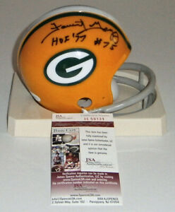 PACKERS Forrest Gregg signed mini helmet 2 bar w/ HOF 77 JSA COA AUTO Autograph
