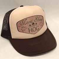 MoonShine Hog Trucker Hat Vintage Style Pig Farm Snapback Redneck Cap