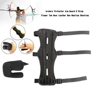 Archery Protector Arm Guard 3 Strap Finger Tab Gear Leather Bow Hunting Shoot A8