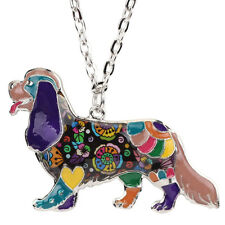 Bonsny Cavalier King Charles Dog Jewellery Necklace Charm Pendant Women Girls Red