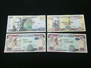 JAMAICA DOLLARS BANKNOTE 2015-2016 UNC (4 PIECES)